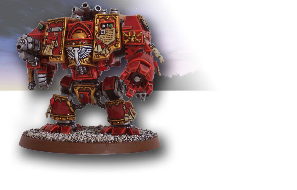 Blood Angels Dreadnought background carousel graphic - painted by Adam Graham.